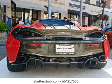 BEVERLY HILLS/CALIFORNIA - JUNE 18, 2017: McLaren 570S a British high performance sports car with a 3.8 liter-twin turbocharged VB engine on display on Rodeo Drive. Beverly Hills, California USA