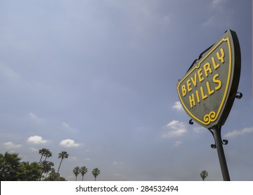 Beverly Hills,CA,USA  June 2nd, 2015  The iconic street sign of Beverly Hills in Los Angeles,