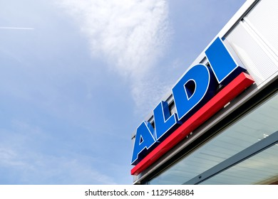 BEVERWIJK, THE NETHERLANDS - June 15, 2018: Aldi lettering at branch. Aldi is a leading global discount supermarket chain with almost 10,000 stores in 18 countries.