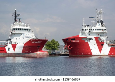BEVERWIJK, THE NETHERLANDS - June 15, 2018: Platform-supply vessel VOS PRECIOUS and Subsea-support vessel VOS SHINE. VOS (Vroon Offshore Services) is a leading maritime offshore-services supplier.