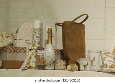 Beverwijk, The Netherlands, October 26th 2018: Gift Basket Content On  Display At A