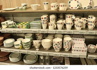 Beverwijk, the Netherlands - october 26th 2018: Boerenbont crockery on display in an interior decoration shop. Boerenbont is a traditional pattern used on pottery from the Netherlands.