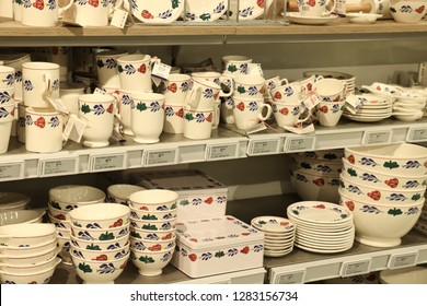 Beverwijk, the Netherlands - october 26th 2018: Boerenbont crockery on display in an interior decoration shop. Boerenbont is a traditional pattern used on pottery from the Netherlands. Boer is farmer,