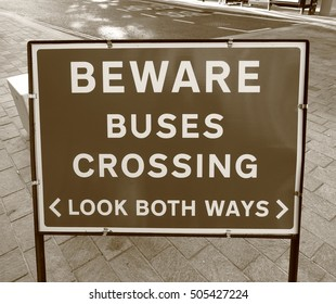 Beware of Buses Warning Sign