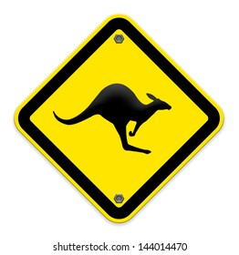 beware Kangaroo sign on traffic label,part of a series