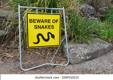 Beware of snakes warning sign in suburban Eltham in Melbourne, Australia