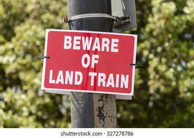a beware of train sign, England UK.