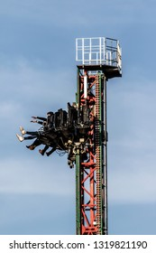 BEWDLEY, UK - FEBRUARY 21, 2019: The Venom Tower Drop Ride at the West Midlands Safari and theme park in Bewdley, Hereford and Worcester, England