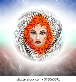 Bewitching woman with red hair and green eyes. Abstract drawing.
