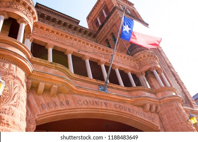 Bexar County Courthouse with Waving Texas Flag
