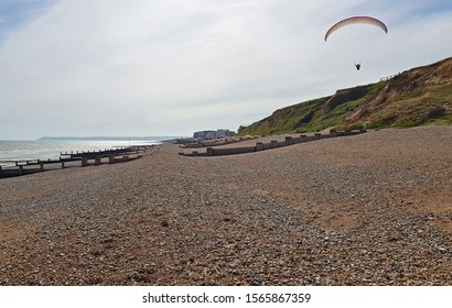 Bexhill,East Sussex/UK 6-17-19 Controversial,well known,paraglider Paul Satchell who has been in the press several times for allegedly flying aggressively,  Pictured here at Galley Hill viewpoint