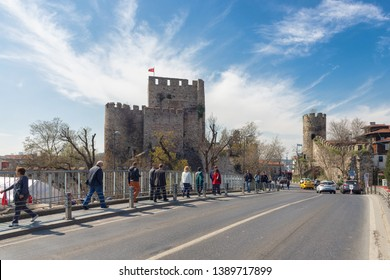 Beykoz, Istanbul - April/07/2019 : The Anatolian Fortress (Anadolu Hisari) is the oldest Turkish architectural structure built in Istanbul near Goksu Creek