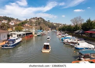 Beykoz, Istanbul - April/07/2019 : Goksu Creek a stream flowing into the Bosphorus is located near Anadolu Fortress. TURKEY