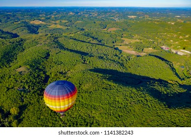 Beynac, Dordogne / France - September 5 2017: View of a hot air balloon over the Dordogne countryside