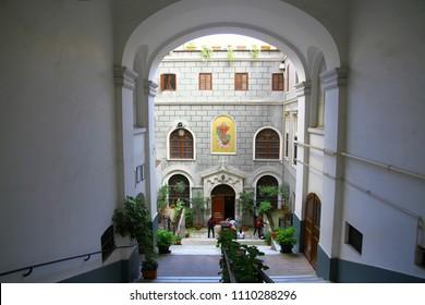 BEYOGLU, ISTANBUL, TURKEY - 2 June 2018. A view of Church of Santa Maria Draperis which is located on the Istiklal Street in Beyoglu.