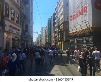 Beyoglu, Istanbul, Turkey - August 23, 2018: People crowd on Istiklal Avenue of Beyoglu, Istanbul.