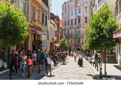 Beyoglu, Turkey -June 25, 2014: Crowd in Istiklal Avenue in the Beyoglu district in Turkey