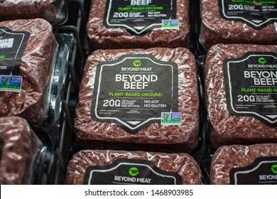 Beyond Meat brand plant-based Beyond Beef packages available for vegan customers in the meat section of grocery store - San Jose, California, USA - August 2, 2019