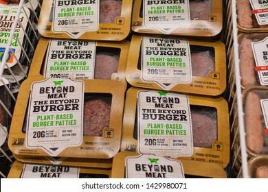 Beyond Meat brand plant-based Beyond Burger packages available for vegan customers in the meat section of Safeway grocery store - Cupertino, California, USA - June 20, 2019