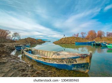Beysehir, Konya / Turkey - February 03 2019: Beysehir lake fishing boat, Konya - Turkey