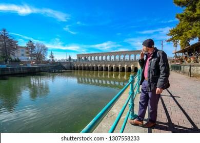 Beysehir, Konya / Turkey - February 03 2019: Beysehir stone bridge in Konya