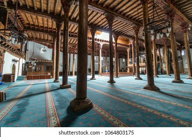 BEYSEHIR KONYA TURKEY - MARCH 24, 2018: The Esrefoglu Mosque is a 13th-century mosque in Beysehir,  Province of Turkey. Esrefoglu Mosque was taken to the World Heritage Candidate List by UNESCO in 201