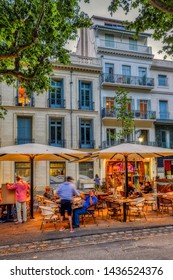 Beziers, Herault/France - June 23 2019: The recently renovated historic city center of Beziers, France, is alive on Sunday June 23, 2019, with new bars and restaurants attracting tourists and locals