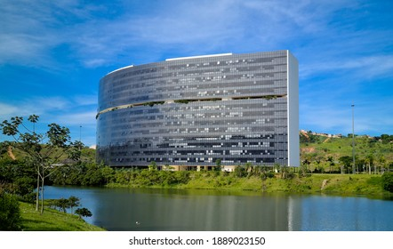BH, BRAZIL - December 15, 2020- An exterior view of the City Administration state government of Minas Gerais, on November 6, 2015, in Belo Horizonte, Brazil. Project Brazilian architect Oscar Niemeyer