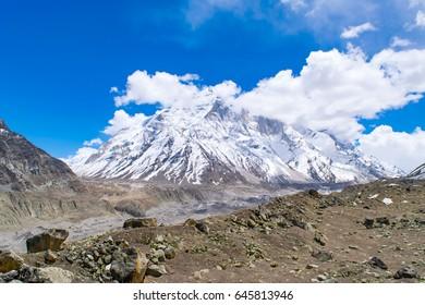 Bhagirathi mountains of Gangotri group of Garhwal Himalayas from Gaumukh hiking trail at Gangotri, Uttarakhand, India. Bhagirathi mountains rings the Gangotri Glacier.
