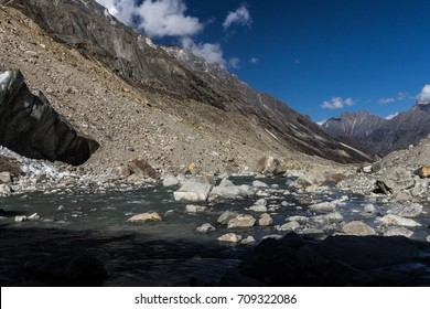 Bhagirathi river at its source in Gaumukh, just in front of the Gangotri glacier terminus. Bhagirathi is the main tributary stream of the Ganges. Gangotri National Park, Garhwal Himalayas, India.
