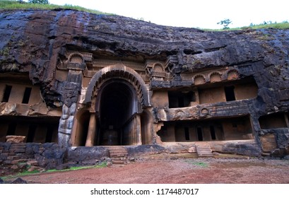 Bhajas maharashtra India October 10 2008 Rock cut caves dating around the 2nd century BC inthe hils near lonavala are among oldest early buddhist rock temple art