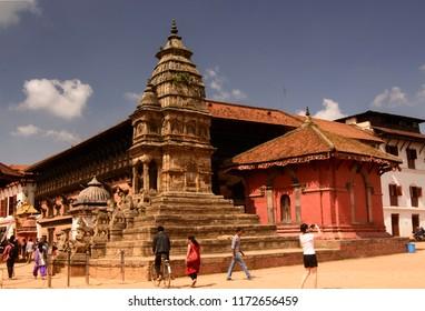 Bhaktapur, Katmandu, Nepal - October 10 2014: Bahktapur was the kingdom of Nepal. The UNESCO site got destroyed in the 2015 earthquake. Siddhi Lakshmi Mandir or Lohan Dega had minor damage.
