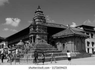 Bhaktapur, Katmandu, Nepal - October 10 2014: Bahktapur was the kingdom of Nepal. The UNESCO site got destroyed in the 2015 earthquake. Black and White photo of Siddhi Lakshmi Mandir had minor damage.
