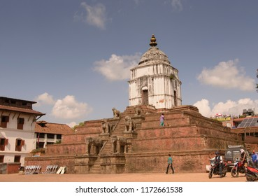 Bhaktapur, Katmandu, Nepal - October 10 2014: Silu Mahadev Temple got destroyed in 2015 earthquake in Nepal. Its a UNESCO heritage site.