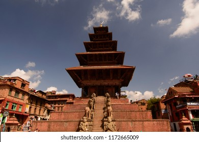 Bhaktapur, Katmandu, Nepal - October 10 2010: The old kingdom is the  UNESCO world heritage site. Nyatapola Temple is in Taumadhi square.
