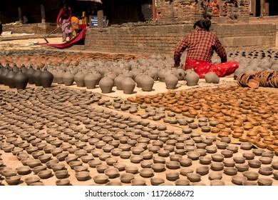 Bhaktapur, Katmandu, Nepal - October 10, 2014: Potters Square is the centre of ceramic industry.