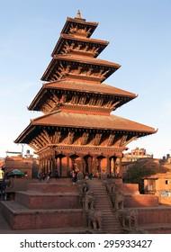 BHAKTAPUR, NEPAL, 10th DECEMBER 2014 - Evening view of Nyatapola Pagoda on Taumadhi Square in Bhaktapur, Kathmandu Valley, Bhaktapur is one of the best historic town in Nepal