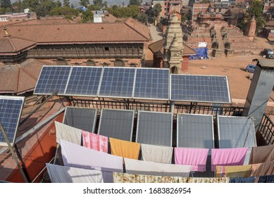 Bhaktapur, Nepal - 27 January 2020: Photovoltaic panels on the rooftop of a house at Bhaktapur on Nepal