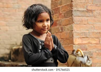 Bhaktapur, Nepal. Aug 22-2010  Nepalese girl