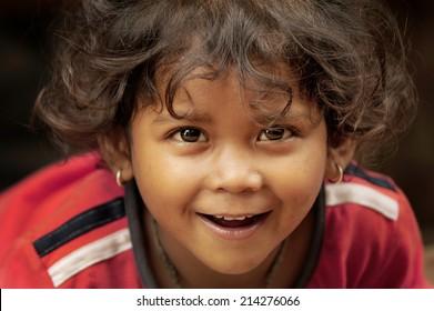 Bhaktapur, Nepal. August 31-2010.  Unidentified Nepali girl smiling