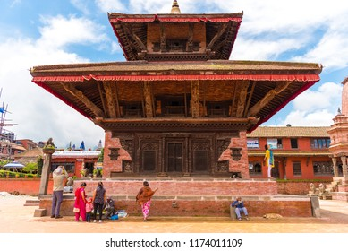 Bhaktapur, Nepal - July 16, 2018 : Traditional architecture in Bhatktapur city, famous for the best-preserved palace courtyards and old city center in Nepal, is also a UNESCO World Heritage Site