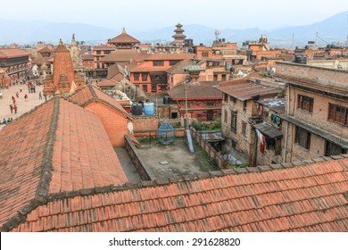 Bhaktapur, Nepal - March 28, 2015 : The medieval town of Bhaktapur has many historic temples and is popular with visitors. Note: these images were taken prior to the earthquake of 25 April 2015.