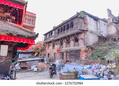 Bhaktapur, Nepal - October 21, 2018: Building in Ruins During the Aftermath of Kathmandu Earthquake