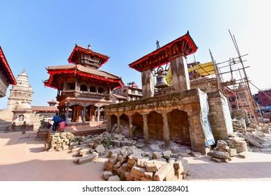 Bhaktapur, Nepal - October 21, 2018: Building Ruins During Nepal Earthquake Aftermath in Bhaktapur Durbur Square