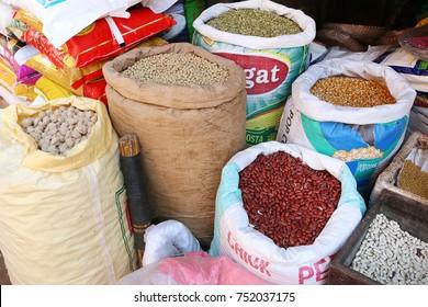 BHAKTAPUR, NEPAL SEPT 27,2017: Sacks of beans and lentils for selling at street market in Bhaktapur, Nepal