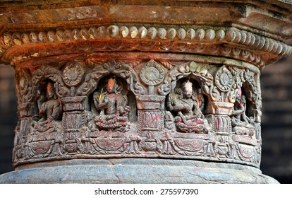 BHAKTAPUR - OCTOBER 10: Carved stone figures on a public Hindu temple. The temple was destroyed after that earthquake hit Nepal on April 25, 2015. On Oct. 10, 2013 in Bhaktapur, Nepal
