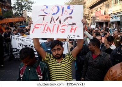 Bharatiya Janta Party or BJP activist hold poster during a protest rally against state government on January 30, 2019 in Calcutta, India.