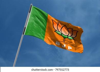 Bhartiya Janta Party (BJP) Flag symbol waving, India