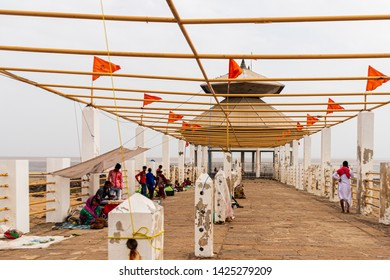 Bharuch, Gujarat, India - 5 Aug 2017 - Stambheshwar Mahadev temple. This temple submerges with every high tide in the occean...