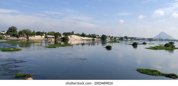 Bhavani, Tamil Nadu, India - July 01, 2021: View of Kaveri River at Bhavani, Tamil Nadu, India